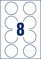 Avery Zweckform wiederablösbare Etiketten, 65mm, rund, 80 Etiketten, weiß, für Laser-, Farblaser-, Inkjetdrucker, Kopierer, Packung à 10 Blatt, Blattformat: DIN A4