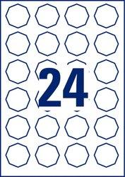 Wiederablösbare Etiketten, 8eckig, für Inkjet / Laser (s/w) / Farblaser / Kopierer, 408 x 403 mm, weiß, 10 Bogen.