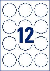 Avery Zweckform wiederablösbare Etiketten, 60x59,5mm, Blumenform, 120 Etiketten, weiß, für Laser-, Farblaser-, Inkjetdrucker, Kopierer, Packung à 10 Blatt, Blattformat: DIN A4