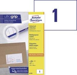Avery Zweckform Etiketten, 210x148mm, 200 Etiketten, weiß, für Laser-, Farblaser-, Inkjetdrucker, Kopierer, Packung à 200 Blatt, Blattformat: DIN A5 quer