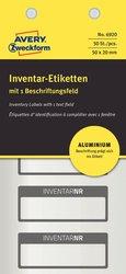 Inventaretikett aus Aluminium-Folie, schwarz, 50 x 20 mm, mit 1 Beschriftungsfeld, handbeschriftbar. VE = 1 Pack = 50 Etiketten.