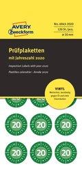 Avery Zweckform Prüfplakette aus Vinyl-Folie, Ø 20mm, 120 Etiketten, grün, Text: 20 (Jahreszahl 2020), Markierung der Monate kann durch Folienstift oder Lochzange erfolgen, öl- und schmutzabweisend, Löse- und Reinigungmittel resistent, Packung à 8 Blatt