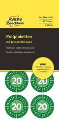 Avery Zweckform Prüfplakette aus Vinyl-Folie, Ø 30mm, 80 Etiketten, grün, Text: 20 (Jahreszahl 2020), Markierung der Monate kann durch Folienstift oder Lochzange erfolgen, öl- und schmutzabweisend, Löse- und Reinigungmittel resistent, Packung à 10 Blatt