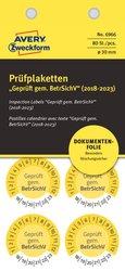 Prüfplakette Geprüft gemäß BetrSichV Ø 30mm, gelb, abziehsichere FolieVE = 1 Pack = 80 Etiketten