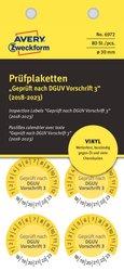 Prüfplakette Geprüft nach DGUV Vorschrift 3 (2018-2023), Ø 30mm, gelb, Vinyl. VE = 1 Pack = 80 Etiketten.