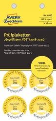 Prüfplakette Geprüft gemäß VDE Ø 30mm, gelb, wetterfestes Vinyl,VE = 1 Pack = 80 Etiketten