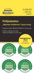 Prüfplakette nächster Prüftermin, Ø 30mm, grün, abziehsichere Folie, VE = 1 Pack = 80 Etiketten (2020-2025).