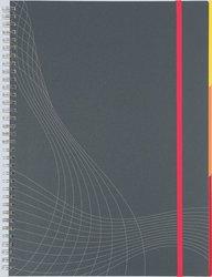 Notizo spiralgebunden Kunststoffcover, A5, liniert, grau, 90g Papier, FSC-zertifiziert. Hellgrauer Hintergrund mit weißer Lineatur.
