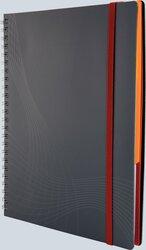 Notizo spiralgebunden Kunststoffcover, A5, kariert, grau, 90g Papier, FSC-zertifiziert. Hellgrauer Hintergrund mit weißer Lineatur.