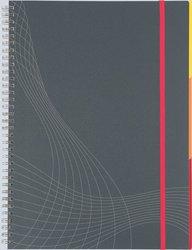 Notizo spiralgebunden Kunststoffcover, A4, kariert, grau, 90g Papier, FSC-zertifiziert. Hellgrauer Hintergrund mit weißer Lineatur.