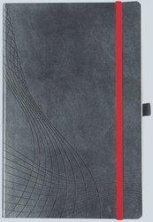 Notizo gebundenes Softcover, A5, liniert, grau, 90g Papier, FSC-zertifiziert. Hellgrauer Hintergrund mit weißer Lineatur.