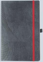 Notizo gebundenes Softcover, A5, kariert, grau, 90g Papier, FSC-zertifiziert. Hellgrauer Hintergrund mit weißer Lineatur.