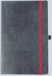 Notizo gebundenes Softcover, A4, liniert, grau, 90g Papier, FSC-zertifiziert. Hellgrauer Hintergrund mit weißer Lineatur.