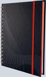 Notizo spiralgebundenes Hardcover, A5, kariert, grau, 90g Papier, FSC-zertifiziert. Hellgrauer Hintergrund mit weißer Lineatur.