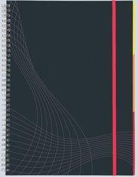 Notizo spiralgebundenes Hardcover, A4, liniert, grau, 90g Papier, FSC-zertifiziert. Hellgrauer Hintergrund mit weißer Lineatur.