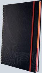 Notizo spiralgebundenes Hardcover, A4, kariert, grau, 90g Papier, FSC-zertifiziert. Hellgrauer Hintergrund mit weißer Lineatur.