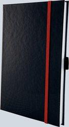 Notizio gebundenes Hardcover, A5, kariert, grau, 90g Papier, FSC-zertifiziert. Hellgrauer Hintergrund mit weißer Lineatur.