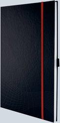 Notizo gebundenes Hardcover, A4, kariert, grau, 90g Papier, FSC-zertifiziert. Hellgrauer Hintergrund mit weißer Lineatur.