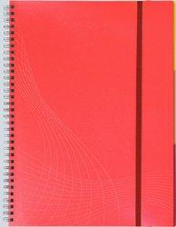 Notizo spiralgebund. Kunststoffcover, A4, kariert, rot, 90g Papier, FSC-zertifiziert. Hellgrauer Hintergrund mit weißer Lineatur.