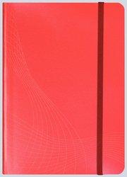 Notizo gebundenes Softcover, A5, kariert, rot, 90g Papier, FSC-zertifiziert. Hellgrauer Hintergrund mit weißer Lineatur.