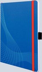 Notizo gebundenes Softcover, A5, kariert, blau, 90g Papier, FSC-zertifiziert. Hellgrauer Hintergrund mit weißer Lineatur.