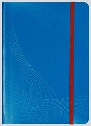 Notizo gebundenes Softcover, A4, kariert, blau, 90g Papier, FSC-zertifiziert. Hellgrauer Hintergrund mit weißer Lineatur.