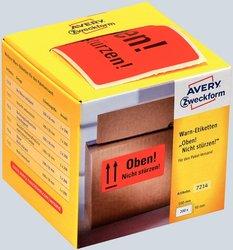 Avery Zweckform Warnetiketten, 100x50mm, 200 Etiketten, neonrot, Text: Oben! Nicht stürzen!, für Pakete, auf Rolle