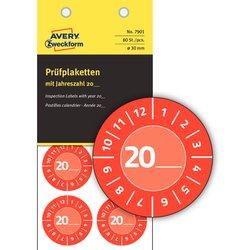 Prüfplaketten 20xx, Ø 30 mm, rot, permanent, Jahreszahl 20.., zum Selbereintragen, wetterfest, kratzbeständig, Vinyl.