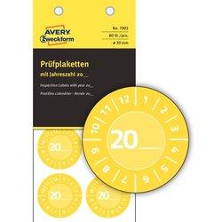 Prüfplaketten 20xx, Ø 30 mm, gelb, permanent, Jahreszahl 20.., zum Selbereintragen, wetterfest, kratzbeständig, Vinyl.