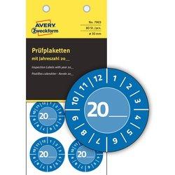 Prüfplaketten 20xx, Ø 30 mm, blau, permanent, Jahreszahl 20.. ,zum Selbereintragen, wetterfest, kratzbeständig, Vinyl.