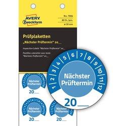 Prüfplakette nächster Prüftermin, blau, Ø 30 mm, permanent, Jahreszahl 20..., zum Selber eintragen, wetterfest, kratzbeständig, Vinyl.