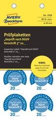 Prüfplakette DGUV Vorschrift, Ø 30 mm, blau, Jahreszahl 20.. wetterfest, kratzbeständig, zum Selbereintragen, 1 Packung = 80 Etiketten