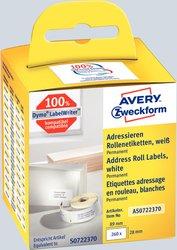 Rollenetikett, 89 x 28 mm, permanent, weiß, 130 Stück pro Rolle. Alternativ zu Dymo: S0722370.