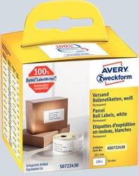 Avery Zweckform Rollenetiketten, 101x54mm, 220 Etiketten, weiß, für Thermodrucker (geeignet für Dymo/Seiko), Packung à 2 Rollen