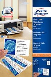 Visitenkarten, unbeschichtet, weiß, 185 g, für Inkjet /Farblaser / Laser (s/w) / Kopierer, 85 x 54 mm, mikroperforiert, 25 Blatt = 250 Karten.