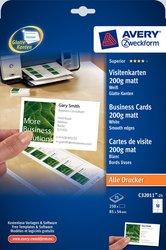 Visitenkarten. 200g, Quick und Clean, für Inkjet / Farblaser / Laser (s/w) / Kopierer, 85 x 54 mm, unbeschichtet, weiß. VE= 10 Blatt / 100 Karten.