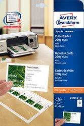 Visitenkarten 200g, Quick u. Clean, 85x54 mm, unbeschichtet, weißVE= 25 Blatt/250 Karten