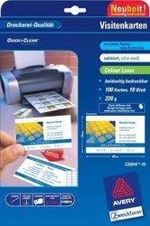Visitenkarten 220g, Quick u. Clean, 85x54 mm, satiniert, ultraweißVE= 10 Blatt/100 Karten