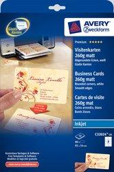Visitenkarten, 260g, für Inkjet Drucker, Quick und Clean, 85 x 54 mm, spezialbeschichtet, weiß, matt, beidseitig und bis zum Rand bedruckbar.