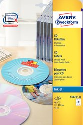 Inkjet CD-Etiketten, Ø 117 mm, hochglänzend, 20 Blatt = 40 Stück.