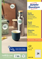 Runde Etiketten, für Inkjet / Laser (s/w) / Farblaser / Kopierer, weiß, Ø 40 mm, 100 Bogen = 2400 Etiketten.
