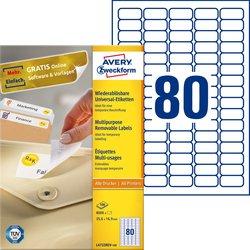 Universal-Etiketten, ablösbar, weiß, 35,6 x 16,9 mm.