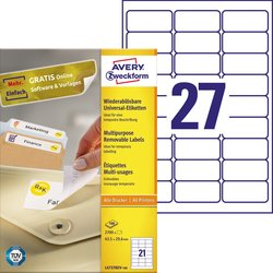 Universal-Etiketten, ablösbar, weiß, 63,5 x 29,6 mm.