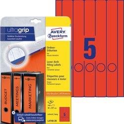 Rückenschild, Inkjet / Farblaser / Laser (s/w) / Kopierer, lang/schmal, rot, A4, 38 x 297 mm, 20 Blatt = 100 Stück.