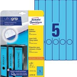Rückenschild, Inkjet / Farblaser / Laser (s/w) / Kopierer, lang/schmal, blau, A4, 38 x 297 mm, 20 Blatt = 100 Stück.