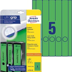 Rückenschild I+L+K lang/schmal, grün, A4, 38 x 297 mm, 20Bl=100St