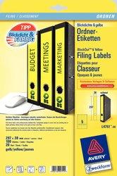 Rückenschild, Inkjet / Farblaser / Laser (s/w) / Kopierer, lang/schmal, gelb, A4, 38 x 297 mm, 20 Blatt = 100 Stück.