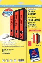 Rückenschild, Inkjet, Farblaser / Laser (s/w) / Kopierer, lang/breit, rot, A4, 61 x 297 mm, 20 Blatt = 60 Stück.