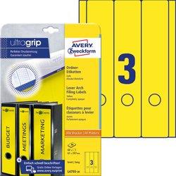 Rückenschild, Inkjet / Farblaser / Laser (s/w) / Kopierer, lang/breit, gelb, A4, 61 x 297 mm, 20 Blatt = 60 Stück.