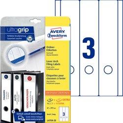 Rückenschild I+L+K lang/breit, weiß, A4, 61x297 mm, 25 Blatt +5 Blatt Gratis